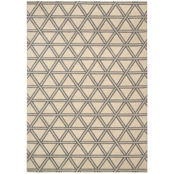 kathy ireland Hollywood Shimmer Architectural Motor Crossing Bisque Area Rug by Nourison - 9'3 x 12'9