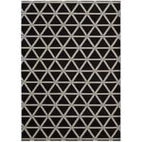 "kathy ireland Hollywood Shimmer Architectural Motor Crossing Onyx Area Rug by Nourison - 9'3"" x 12'9"""