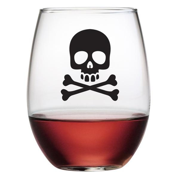 Halloween Skull & Crossbones 21-ounce Stemless Wine Glasses (Set of 4)