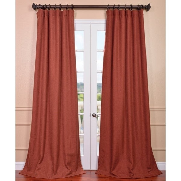 Exclusive Fabrics Rust Linen Weave Curtain Panel Free Shipping Today 15647350