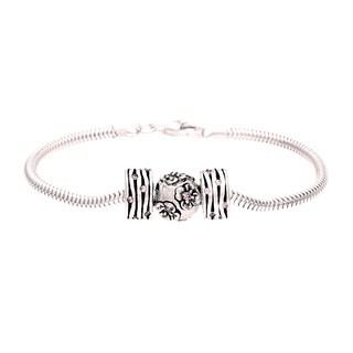 Sterling Silver Pink Crystal Flower Bead Charm Bracelet