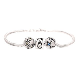 Sterling Silver Clear and Blue Crystal Flower Bead Charm Bracelet