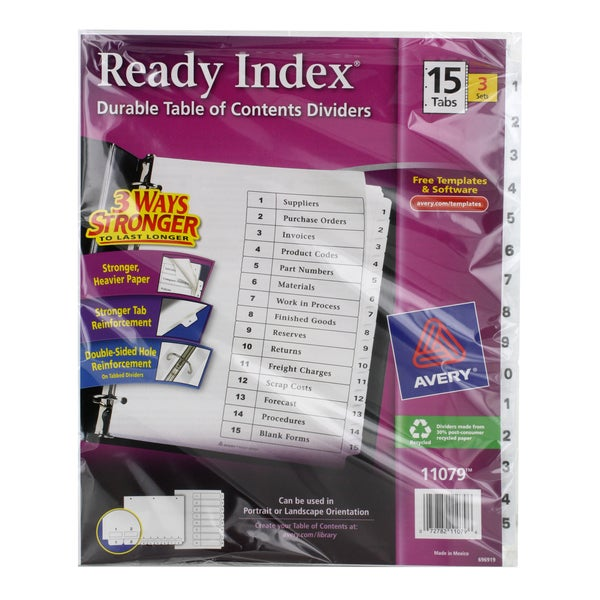 shop avery ready index durable table of contents dividers. Black Bedroom Furniture Sets. Home Design Ideas