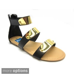 Women's 'Hoops' Hardware-plated Blue Strap Sandals