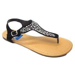 Blue Women's 'Daggers' Black Rhinestone Studded Sandals