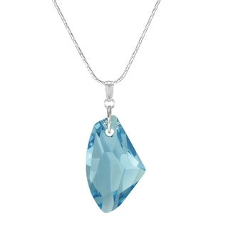 Handmade Jewelry by Dawn Large Aquamarine Crystal Galactic Sterling Silver Necklace