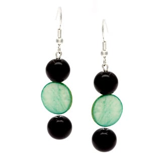 Karla Patin Green and Black Dangle Earrings