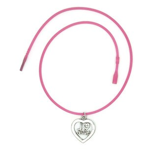 Handmade Jewelry by Dawn I Love Ballet Heart Shape Dance Necklace (USA) - HOT PINK