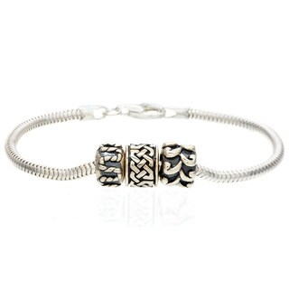 Sterling Siver Rope Style Bead Bracelet