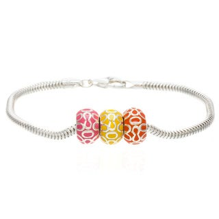 Sterling Silver Pink, Orange and Yellow Enamel Bead Bracelet
