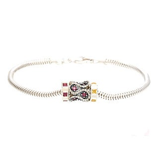 Sterling Silver Red and Yellow Crystal Bead Charm Bracelet