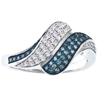 Sterling Silver 1/4ct TDW Blue and White Diamond Bypass Ring By Ever One