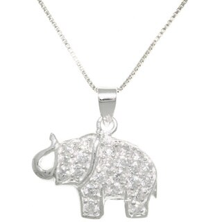 Carolina Glamour Collection Sterling Silver CZ Lucky Elephant Necklace