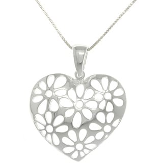 Carolina Glamour Collection Silver Cut-out Daisy Heart Necklace