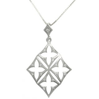 Carolina Glamour Collection Silver Four Cross Diamond-shaped Necklace