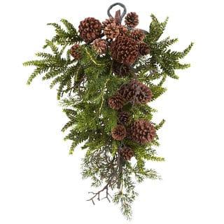 26-inch Pine/ Pine Cone Teardrop Wreath https://ak1.ostkcdn.com/images/products/8339734/8339734/26-inch-Pine-Pine-Cone-Teardrop-Wreath-P15650748.jpg?impolicy=medium