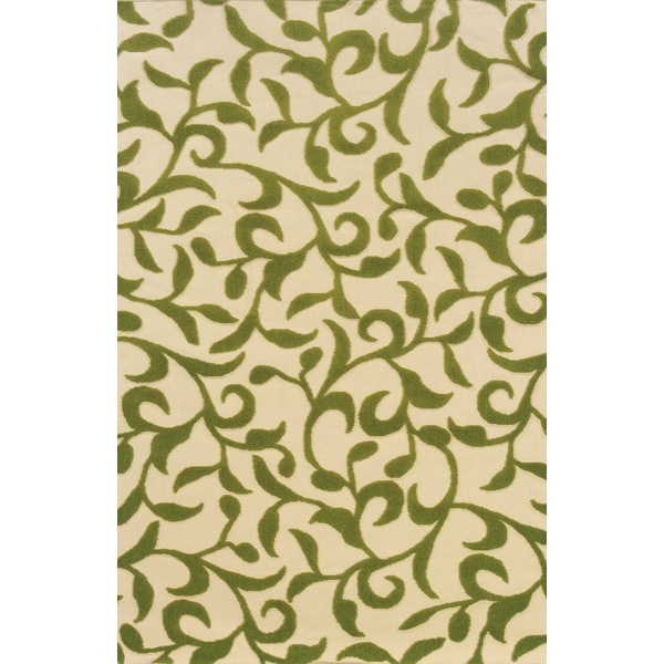 Indoor/Outdoor Ivory/ Green Area Rug (1'9 x 3'9)