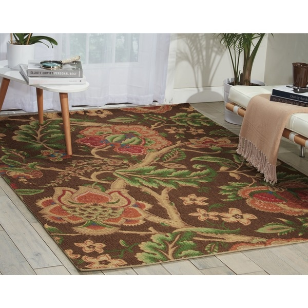 Waverly Global Awakening Imperial Dress Chocolate Area Rug by Nourison - 8' x 10'