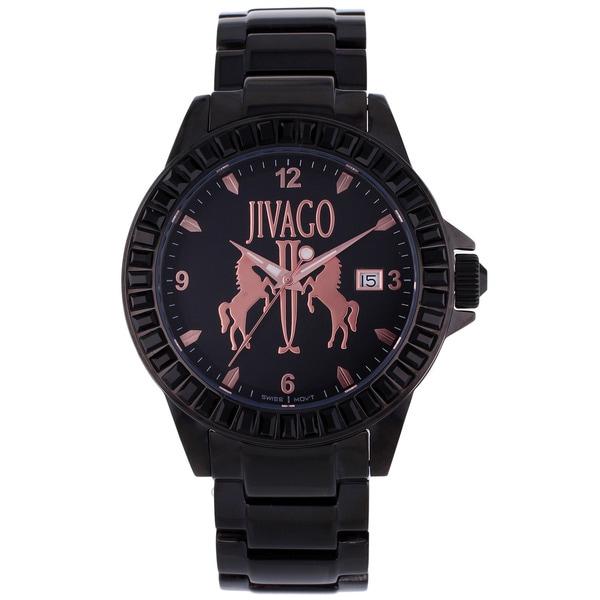 Jivago Women's 'Folie' Stainless Steel Black Watch with Pink Dials