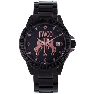 Jivago Women's 'Folie' Stainless Steel Black Watch with Pink Dials