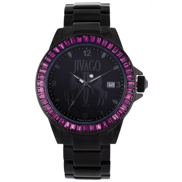 Jivago Women's 'Folie' Stainless Steel Black Watch with Purple Accents