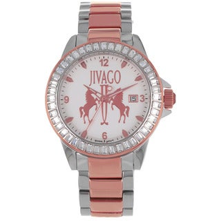 Jivago Women's 'Folie' Stainless Steel Pink and Silvertone Watch with Diamond Accents