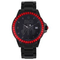 Jivago Women's 'Folie'  Stainless Steel Black Watch with Red Accents