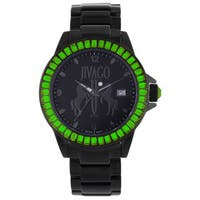 Jivago Women's 'Folie'  Stainless Steel Black Watch with Green Accents