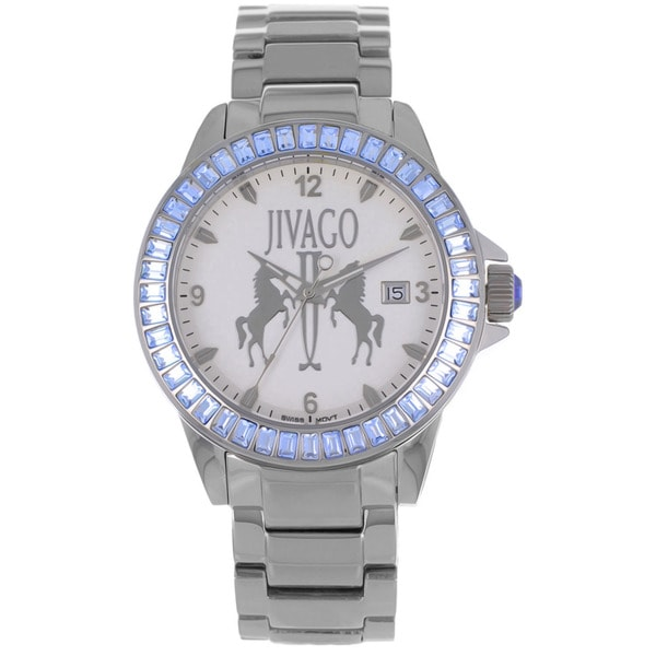 Jivago Women's 'Folie' Stainless Steel Silvertone Watch with Diamond Accents