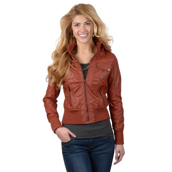 Hailey Jeans Co. Juniors Faux Leather Fur Lined Hooded Jacket