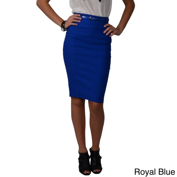 Journee Collection Juniors Belted Pencil Skirt