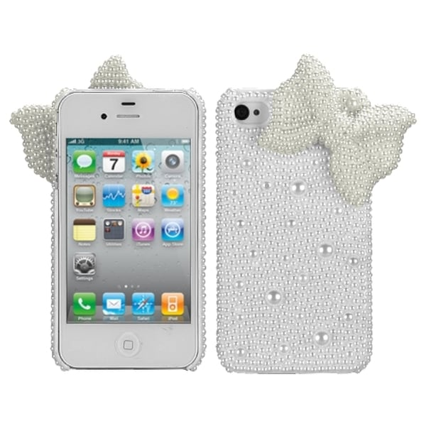 INSTEN White Bow Pearl 3D Diamante Back Phone Case Cover Apple iPhone 4/ 4S