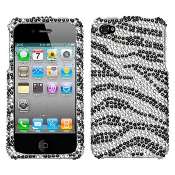 INSTEN Black Zebra Skin/ Crystal Diamante Phone Case Cover for Apple iPhone 4S/ 4