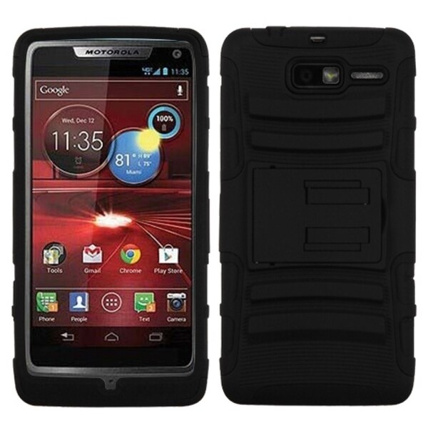 BasAcc Black/ Black Case with Stand for Motorola XT907 Droid Razr M
