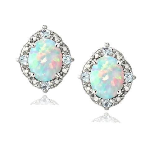 Glitzy Rocks Sterling Silver 1/3ct TGW Oval Opal and Blue Topaz Accent Earring