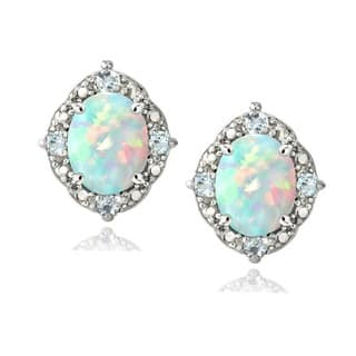 Glitzy Rocks Sterling Silver 1/3ct TGW Oval Opal and Blue Topaz Accent Earring|https://ak1.ostkcdn.com/images/products/8341508/P15652266.jpg?impolicy=medium