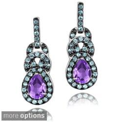 Glitzy Rocks Sterling Silver Blue Topaz and Amethyst Earrings