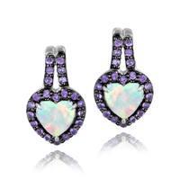 Glitzy Rocks Sterling Silver Opal and Amethyst Heart Earrings
