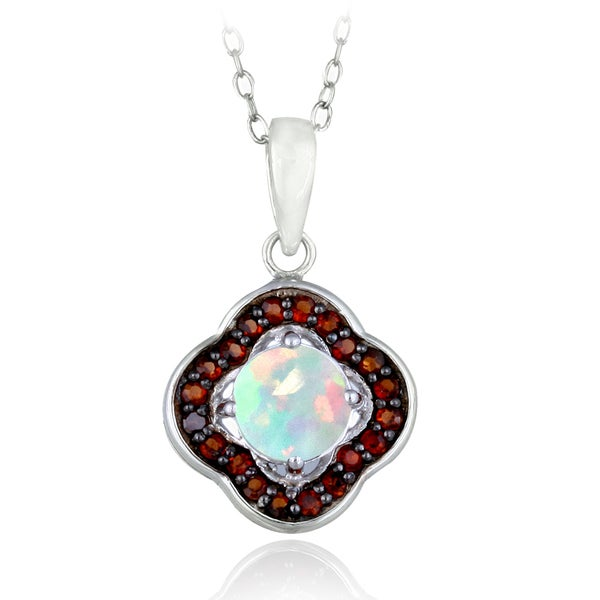 Glitzy Rocks Sterling Silver Opal and Garnet Clover Necklace