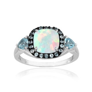 Glitzy Rocks Sterling Silver Opal and Blue Topaz Square Ring
