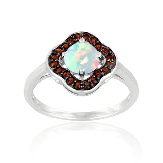 Glitzy Rocks Sterling Silver Opal and Garnet Clover Ring