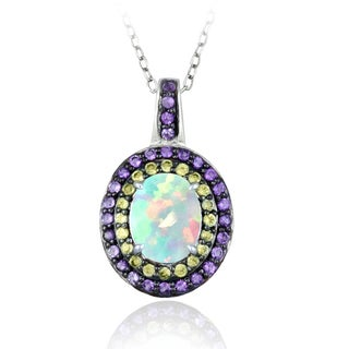 Glitzy Rocks Sterling Silver Opal, Amethyst and Peridot Oval Necklace