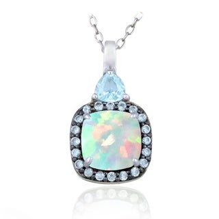Glitzy Rocks Sterling Silver Opal and Blue Topaz Square Necklace