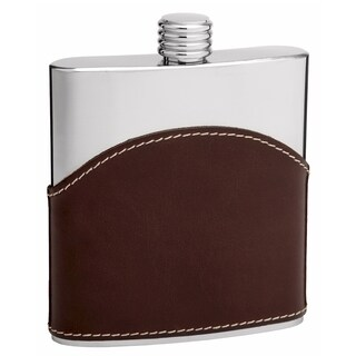 Top Shelf 6-Ounce Stainless Steel and Brown Leather Hip Flask
