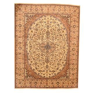 Herat Oriental Persian Hand-knotted Mashad Ivory/ Beige Wool Rug (9'7 x 12'9)