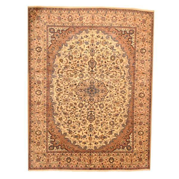 Herat Oriental Persian Hand-knotted Mashad Wool Rug (9'7 x 12'9)