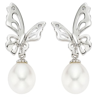 Pearlyta Sterling Silver Cultured Pearl Butterfly Earrings (7-8 mm) (Pack of 6)