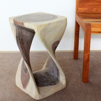 Handmade Agate Grey Oil 12 Inches Square x 20 Inches High Twist Stool (Thailand)