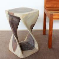 Haussmann Handmade Wood Original Twist Stool 12 in SQ x 20 in H Agate Grey Oil
