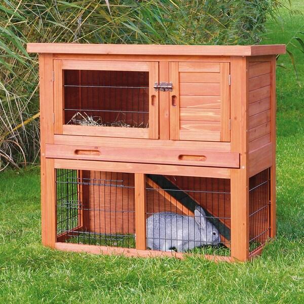 Trixie Glazed Pine Sloped Roof Rabbit Hutch Free